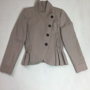 Zara Asymmetric Jacket Wool Peplum Pleated Button
